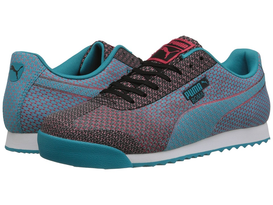 PUMA - Roma Woven Mesh (Black/Capri Breeze) Men's Shoes