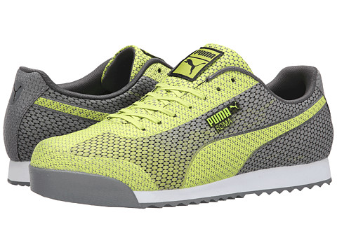PUMA - Roma Woven Mesh (Lime Punch/Steel Gray) Men's Shoes