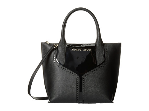 Armani Jeans - Patent and Saffiano Convertible Handbag (Black) Tote Handbags