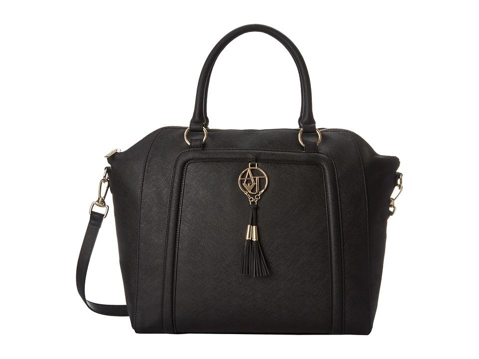 Armani Jeans - Saffiano Tassel Large Bugatti (Black) Satchel Handbags
