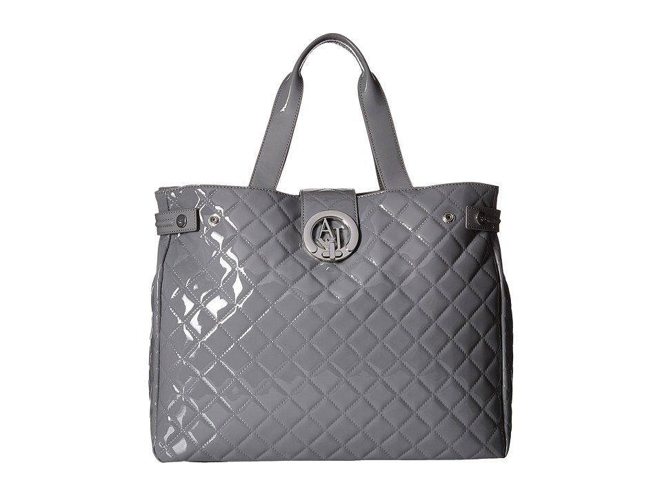 Armani Jeans - Quilted Patent Large Tote (Grey) Tote Handbags