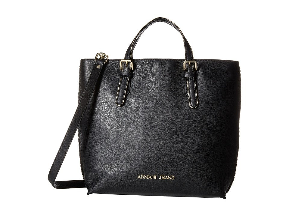 Armani Jeans - Tumbled Leather Tote (Black) Tote Handbags