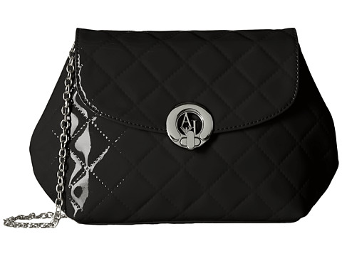 Armani Jeans - Quilted Patent Crossbody (Black) Cross Body Handbags