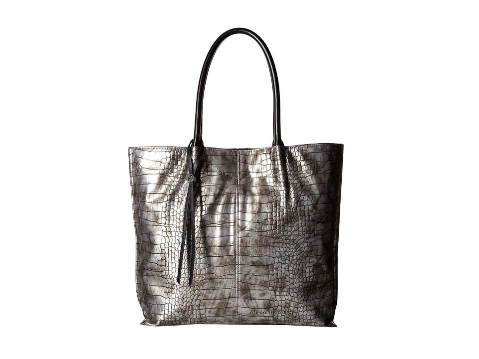 Armani Jeans - Croc Printed Tote (Silver) Tote Handbags