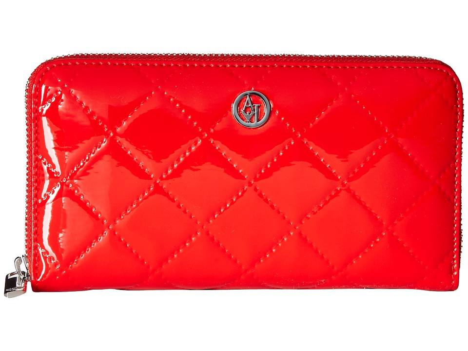 Armani Jeans - Quilted Patent Fold Wallet (Red) Wallet Handbags