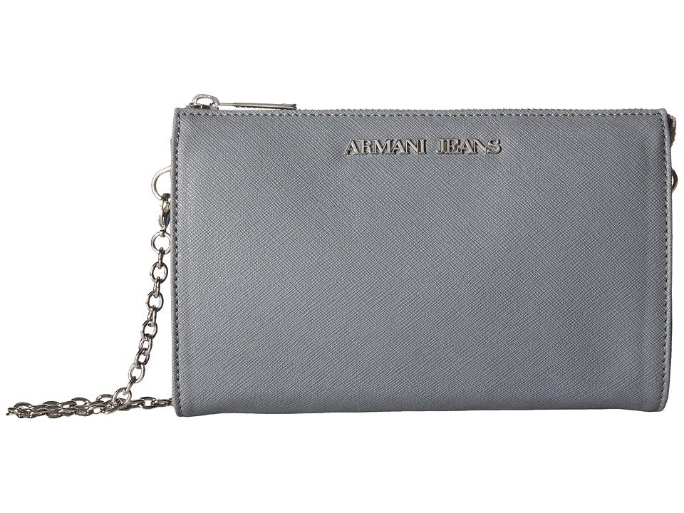 Armani Jeans - Small Saffiano Crossbody (Grey) Cross Body Handbags