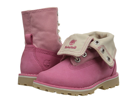 Timberland Kids - Authentics Canvas Fabric Fold (Toddler/Little Kid) (Pink/Pink) Girls Shoes