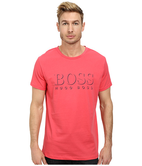 BOSS Hugo Boss - Short Sleeve Crew BM 10144 Boss Logo SPF Tee (Dark Pink 1) Men