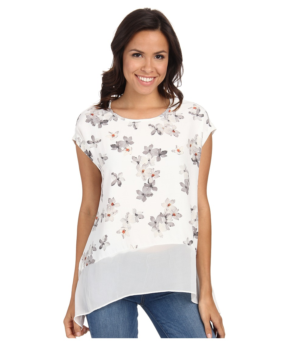 Karen Kane Sheer Hem Tee (Off White) Women