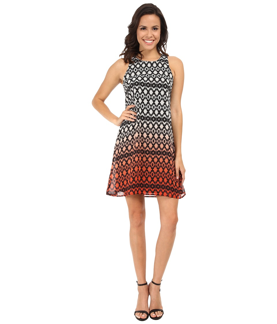 Karen Kane - Dip Dye Print Dress (Orange) Women's Dress