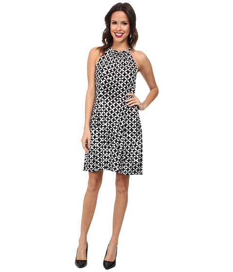 MICHAEL Michael Kors - Print Matte Jersey Halter Dress (Black) Women