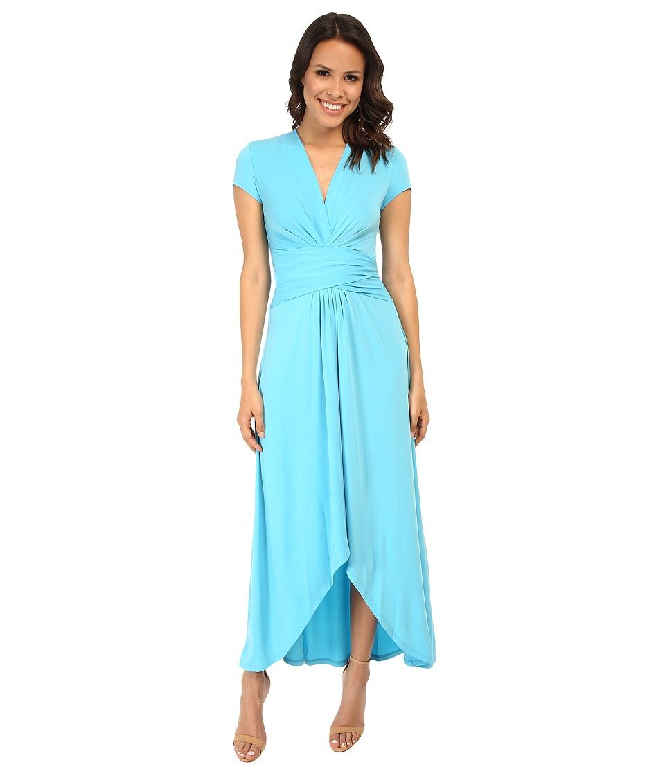 MICHAEL Michael Kors - Capsleeve Maxi Wrap Dress (Peacock) Women's Dress