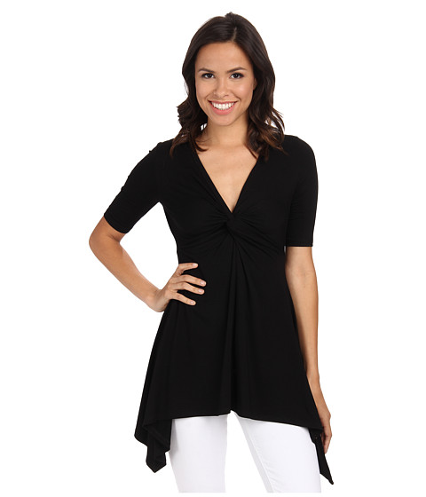 Karen Kane - Pencil Sleeve Knot Top (Black) Women's Short Sleeve Pullover