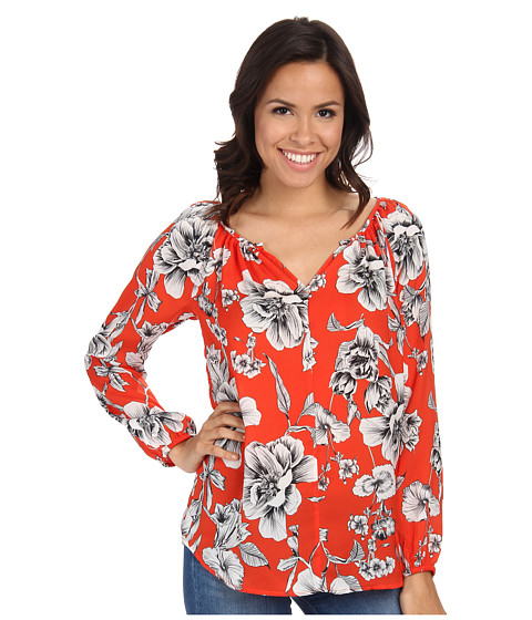 Karen Kane - Etched Floral Peasant Top (Print) Women's Long Sleeve Pullover