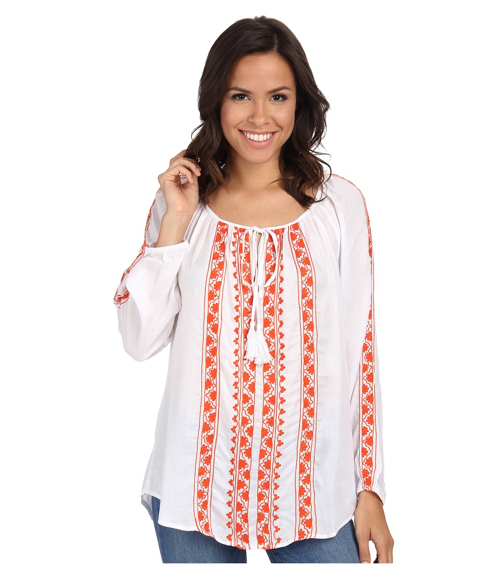 Karen Kane - Embroidered Top w/ Ties (Off White) Women's Long Sleeve Pullover