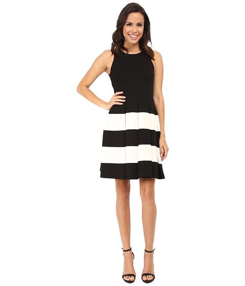 Karen Kane - Striped Flare Dress (Black/Off White) Women
