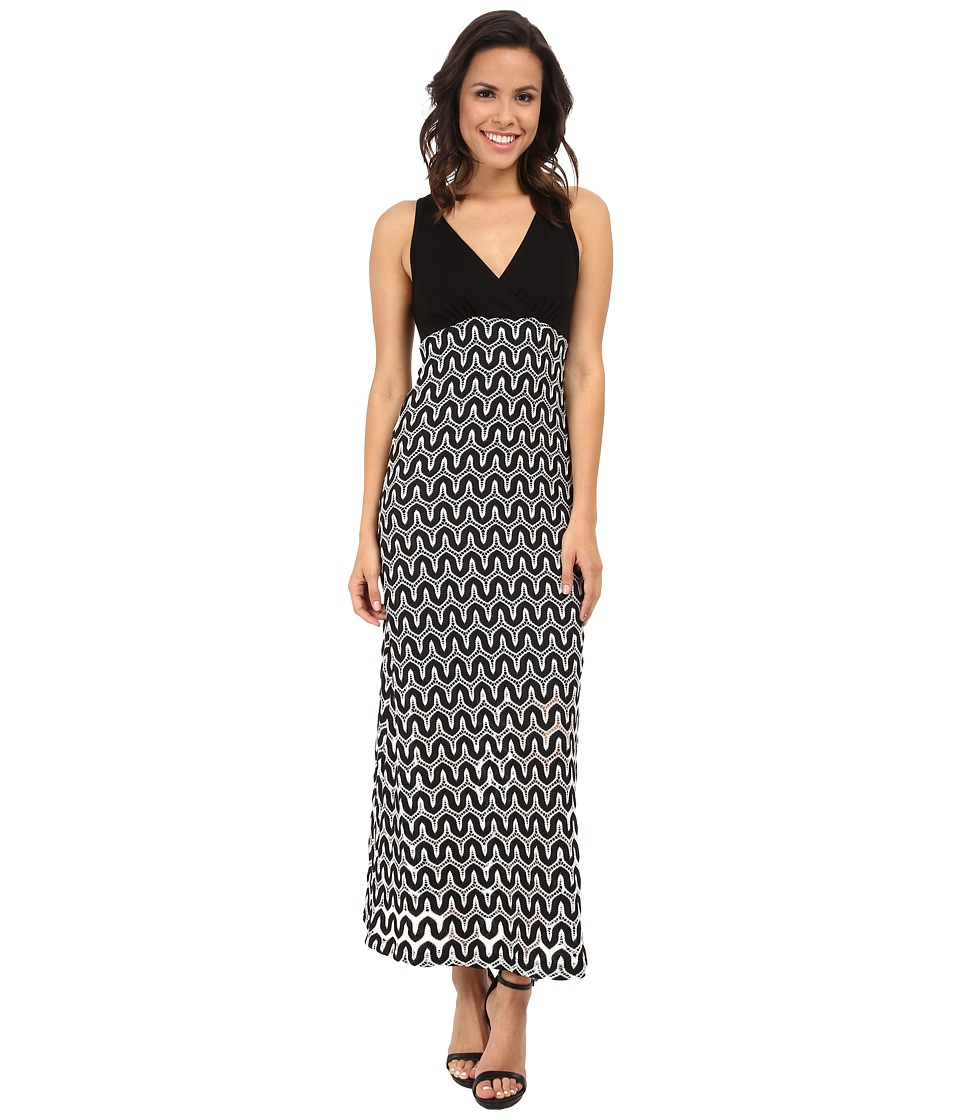 Karen Kane - Crochet Maxi Dress (Black/Off White) Women's Dress