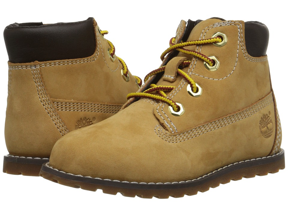 Timberland Kids - Pokey Pine 6 Boot w/ Side Zip (Toddler/Little Kid) (Wheat Nubuck) Boys Shoes