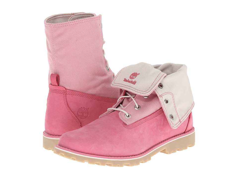 Timberland Kids - Authentics Canvas Fabric Fold (Big Kid) (Pink/Pink) Girls Shoes