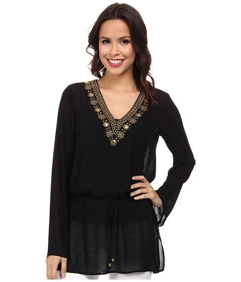 MICHAEL Michael Kors - Embellished Top Drawstring (Black/Gold) Women's Clothing