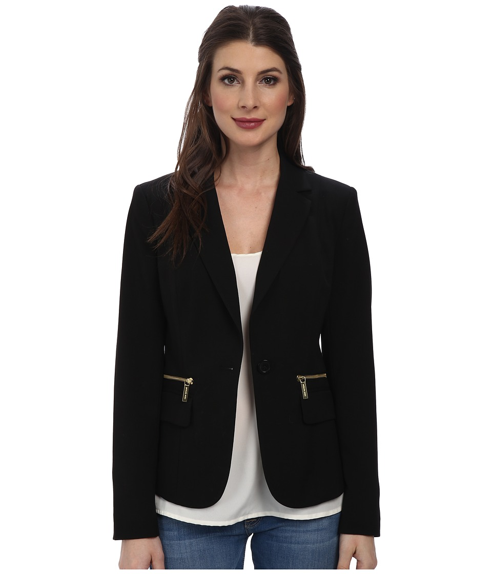 MICHAEL Michael Kors - One Button Zipper Blazer (Black) Women's Jacket