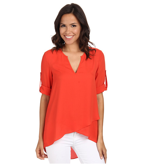 Karen Kane - Asymmetrical Hem Wrap Top (Orange) Women's Blouse