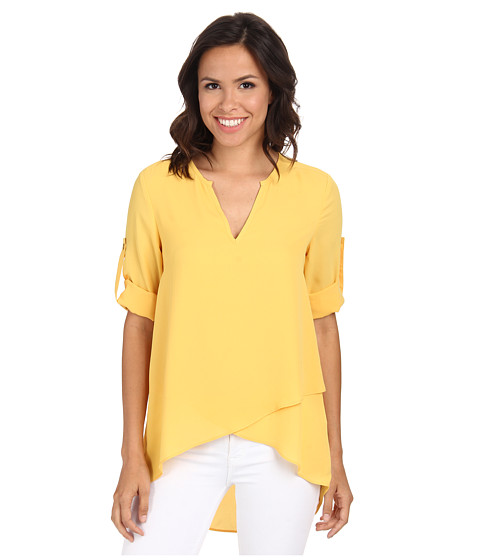 Karen Kane - Asymmetrical Hem Wrap Top (Yellow) Women's Blouse