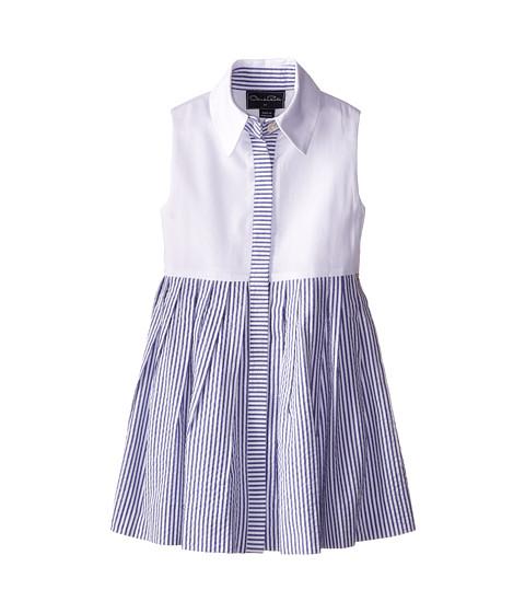 Oscar de la Renta Childrenswear - Pique Seersucker Shirtdress (Toddler/Little Kids/Big Kids) (Navy) Girl