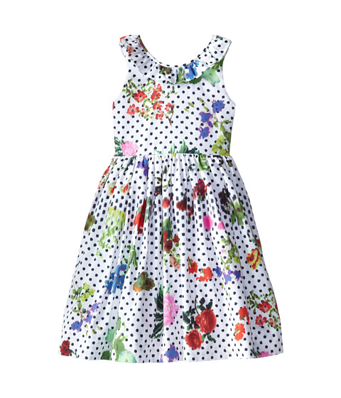 Oscar de la Renta Childrenswear - Botanical Garden Cotton V-Back Dress (Toddler/Little Kids/Big Kids) (Optic White) Girl