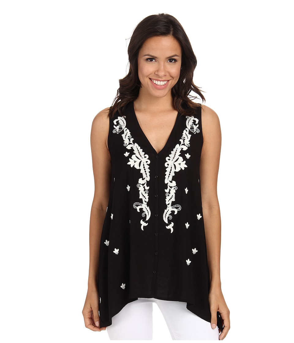 Karen Kane - Embroidered Handkerchief Tank Top (Black) Women's Sleeveless