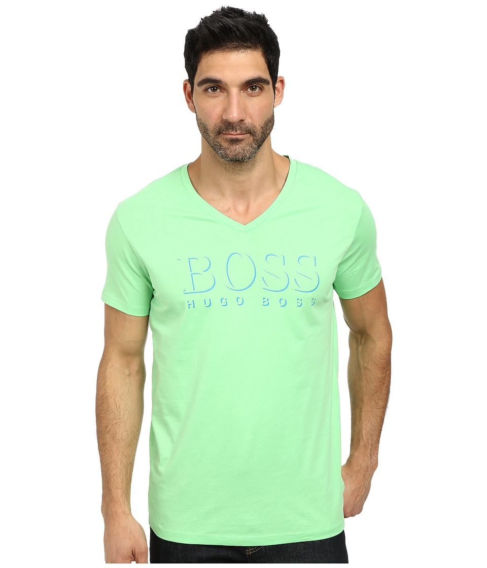 BOSS Hugo Boss - Short Sleeve V-Neck BM 10144 Boss logo SPF Tee (Bright Green) Men's Short Sleeve Pullover