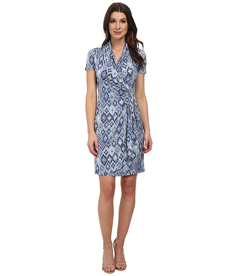 Karen Kane - Blue Tile Cascade Wrap Dress (Print) Women