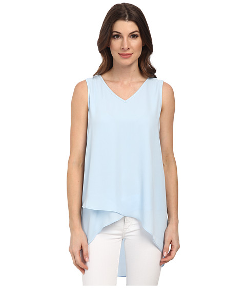 Karen Kane - Layered V-Neck Tank Top (Light Blue) Women's Sleeveless