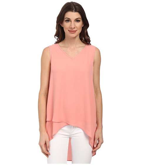 Karen Kane - Layered V-Neck Tank Top (Peach) Women's Sleeveless