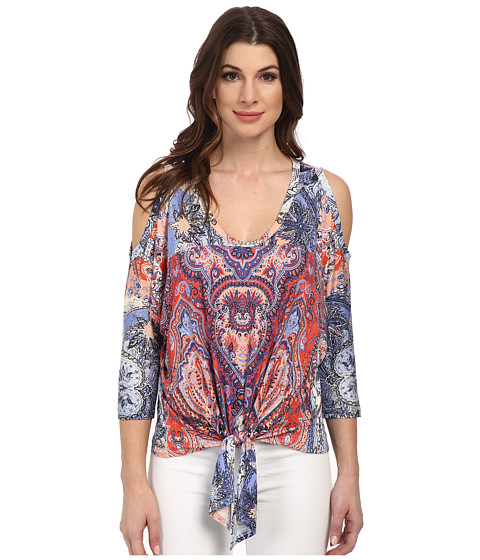 Karen Kane - Watercolor Paisley Cold Shoulder Top (Print) Women
