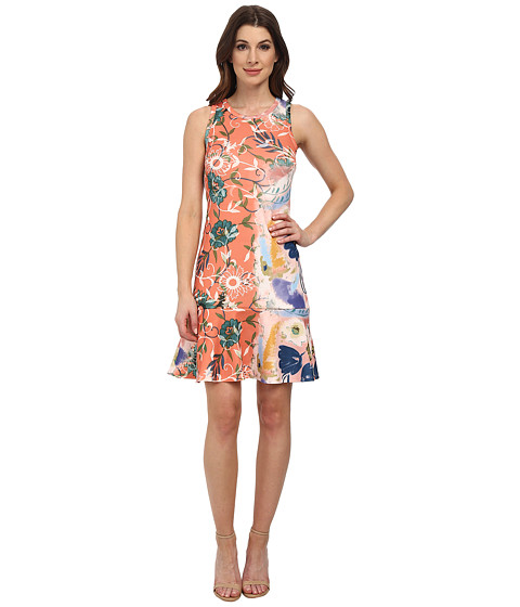 Karen Kane - Painted Floral Scuba Dress (Print) Women