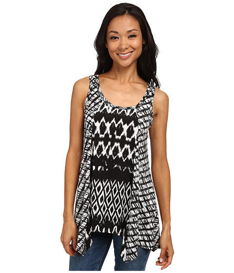 Karen Kane - Tribal Stripe Contrast Tank Top (Black/Off White) Women's Sleeveless