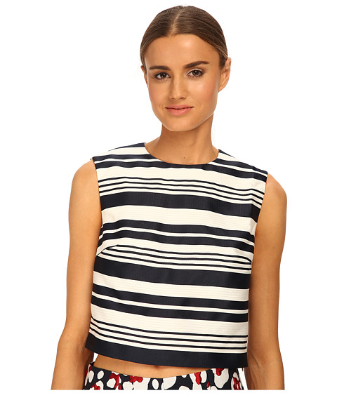 RED VALENTINO - Striped Jacquard Top (Navy) Women's Clothing