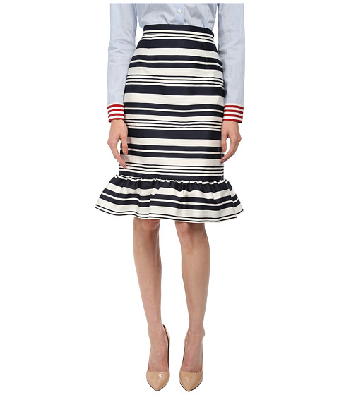 RED VALENTINO - Striped Jacquard Skirt (Navy) Women's Skirt