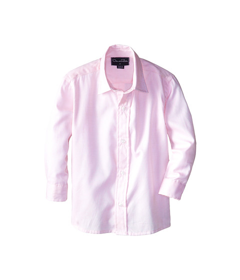 Oscar de la Renta Childrenswear - Long Sleeve Micro Pique Dress Shirt (Toddler/Little Kids/Big Kids) (Pink) Boy's Long Sleeve Button Up