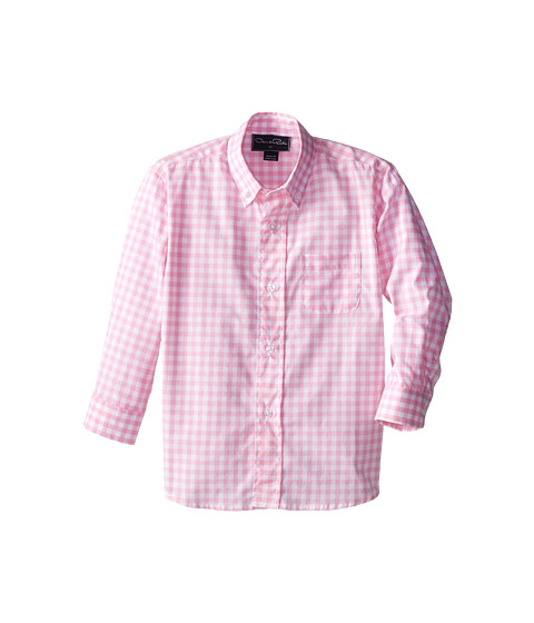 Oscar de la Renta Childrenswear - Check Cotton Long Sleeve Woven (Toddler/Little Kids/Big Kids) (Peony) Boy's Long Sleeve Button Up