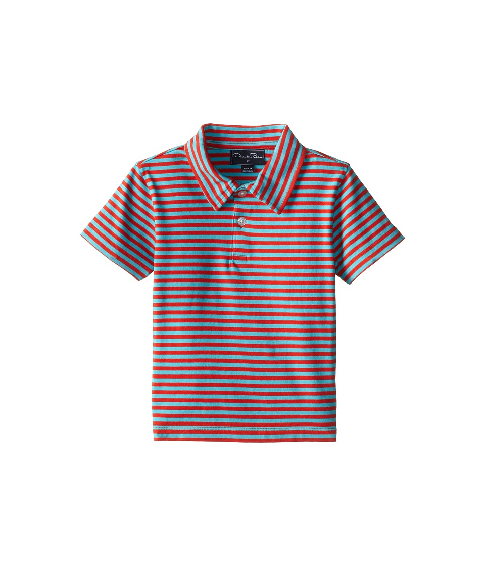 Oscar de la Renta Childrenswear - Double Stripe Pique Polo (Toddler/Little Kids/Big Kids) (Coral/Dolphin) Boy's Short Sleeve Pullover