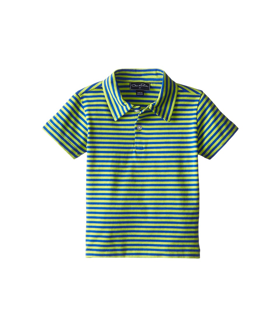 Oscar de la Renta Childrenswear - Double Stripe Pique Polo (Toddler/Little Kids/Big Kids) (Citron/Navy) Boy's Short Sleeve Pullover