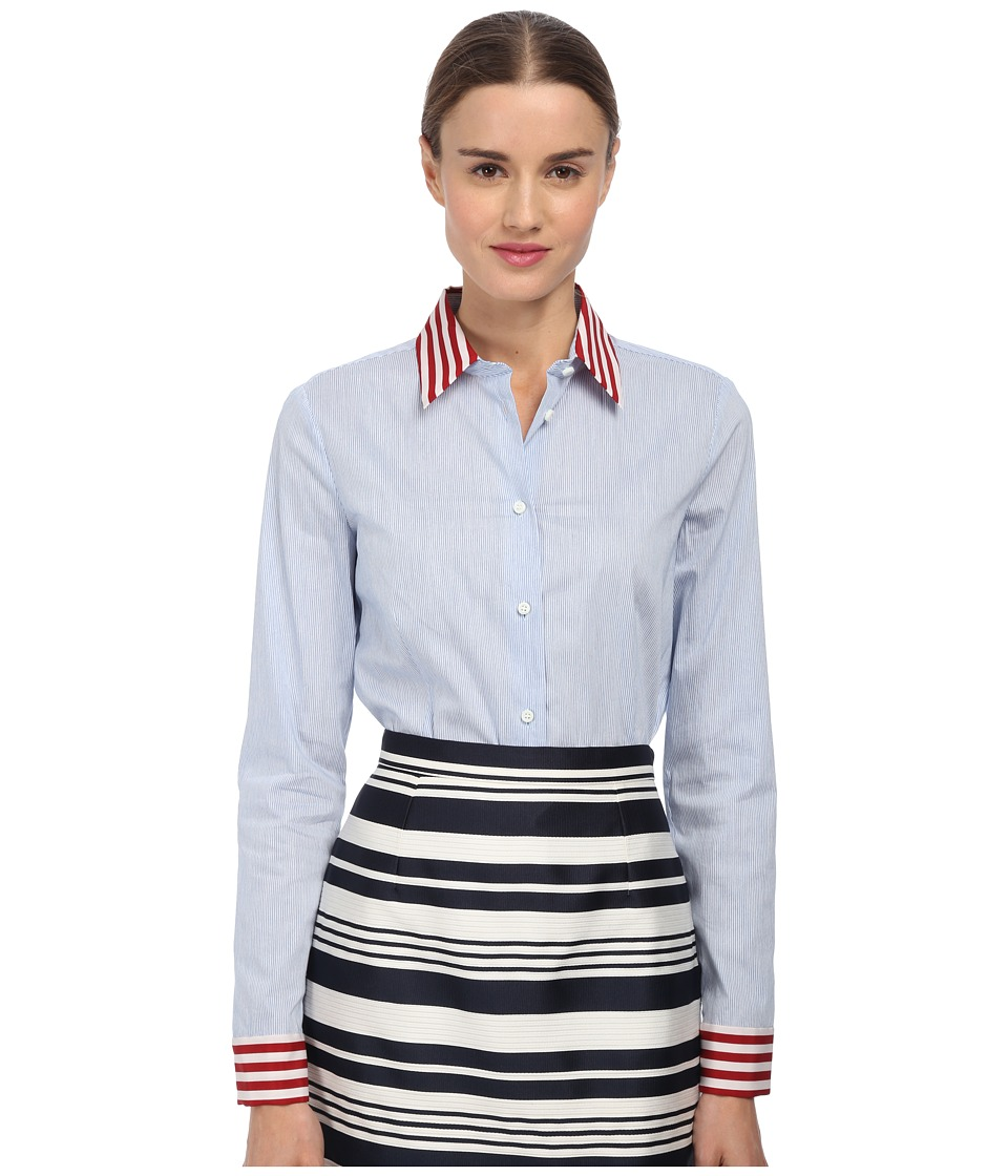 RED VALENTINO - Micro Striped Top (Sky Blue) Women's Long Sleeve Button Up