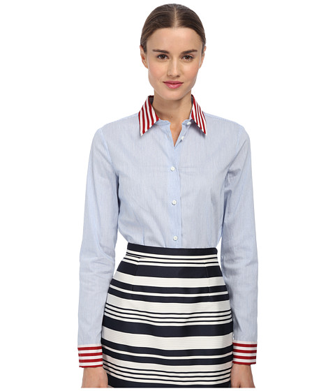RED VALENTINO - Micro Striped Top (Sky Blue) Women
