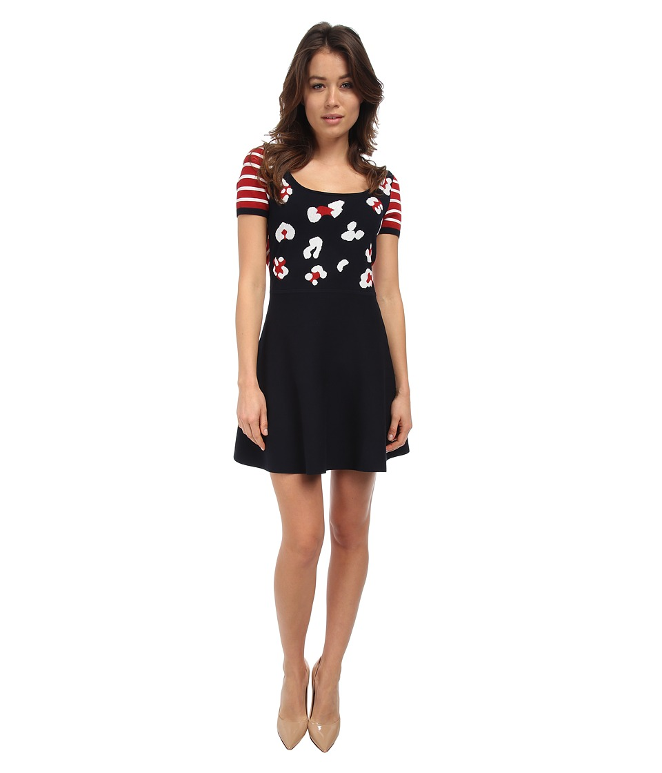 RED VALENTINO - Summer Leo Intarsia Dress (Red/White/Blue) Women's Dress
