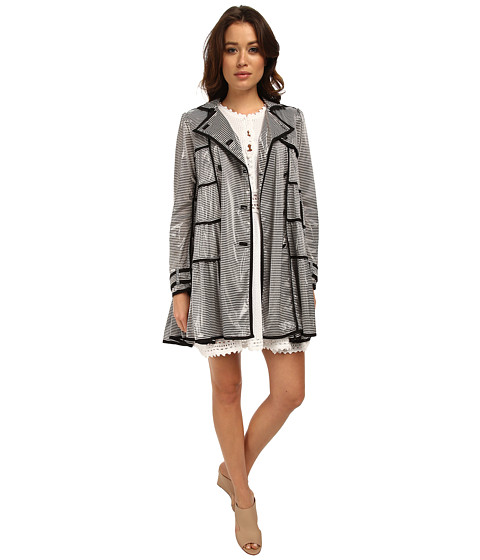 RED VALENTINO - Striped Jersey Jacket (Navy/White) Women's Coat