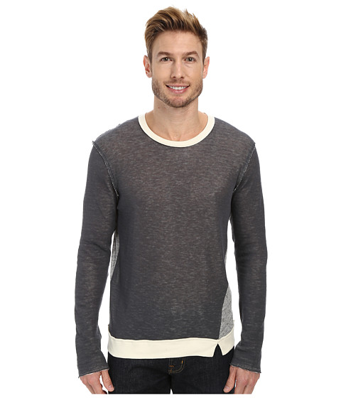 Joe's Jeans - Double Sweater Knit Ace Long Sleeve Crew (Heather Grey/Natural) Men's Clothing
