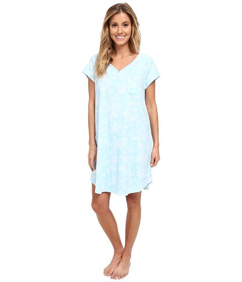 Karen Neuburger - Aqua Fresh Short Sleeve Henley Nightshirt (Floral/Aqua) Women's Pajama