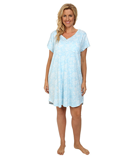 Karen Neuburger - Plus Size Aqua Fresh Short Sleeve Henley Nightshirt (Floral/Aqua) Women